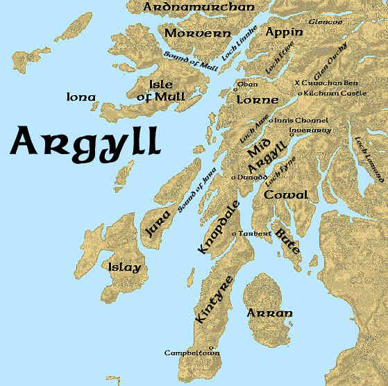 Argyll Scotland Place Names Map Kids Page