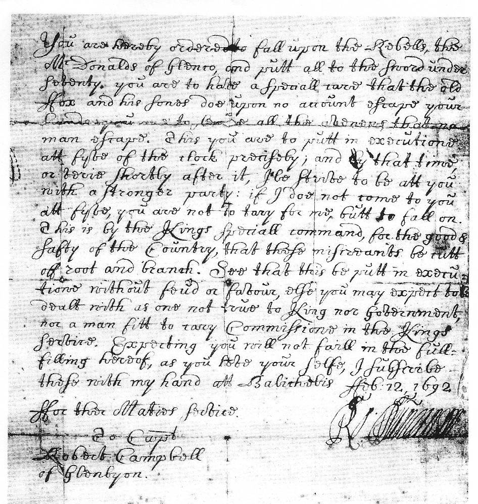Glencoe Orders to Robert Campbell of Glenlyon 1692